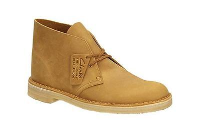 Clarks Original Desert Boot Mens Mustard Leather Casual Shoes 26108405