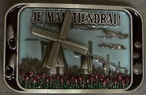 Pewter Belt Buckle National Windmills of Holland NEW