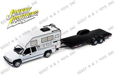 Johnny Lightning Truck 2002 Camper And Flatbed Trailer Jlcp7087 1 64