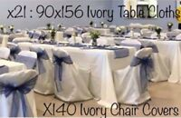 Chair & Table cover etc.. for Rent