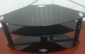 Black Tempered Glass TV & Media Table.