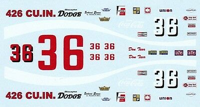 #36 Don Tarr Biscayne Dodge 1969-70 1/25th - 1/24th Scale Waterslide Decals