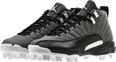 Nike Jordan 12 XII Retro MCS Size 9.5 Baseball Cleats Black 854566-010
