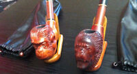 2 Hand Carved Monkey Pipes
