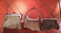 Lot of 3 Silver mesh purse antique vintage deco handbag pouch