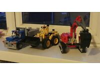 LEGO dump truck and two diggers