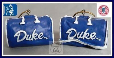 DUKE BLUE DEVILS MENS NCAA BASKETBALL FOOTBALL SPORTS BAG ORNAMENT SET OF 2