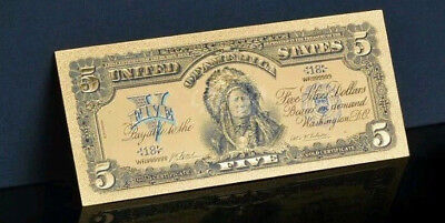 1899 Silver Certificate - AN ☆AMAZING ☆ 《1899 SILVER CERTIFICATE》 INDIAN CHIEF  $5 Rep.*Banknote - ☆