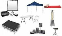 STAGE, TENT, EVENT, LINEN, PATIO HEATER, CHAIR, TABLE RENTALS