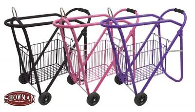 Showman Western or English Rolling Saddle Rack with Removable Tack Basket ()