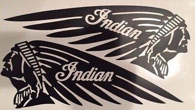 "MATTE BLACK Indian 3.5"" x 10"" Motorcycle Tank Helmet Vinyl Decal Scout Chief"