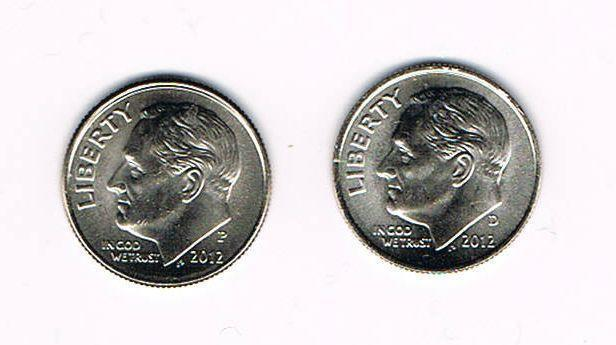 2012 P&D ROOSEVELT DIMES - BRILLIANT UNCIRCULATED FROM BANK ROLLS