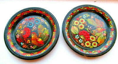 VINTAGE 2 X RUSSIAN HAND PAINTED WOOD PLATES BLACK BIRD FLOWER DESIGN WOODWARE *