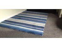 Blue wool handmade rug