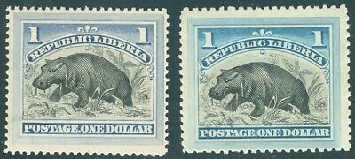 Liberia 1892, $1.00 hippo, with SHADE, very fine condition, mint NH #47 Waterlow