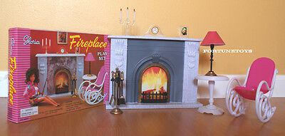 GLORIA DOLLHOUSE BARBIE FURNITURE SZ FIREPLACE & ROCKING CHAIR TABLE PLAYSET