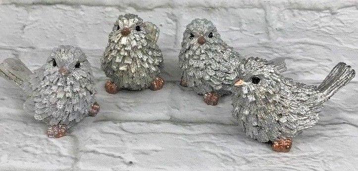 Silver Birds Resin Chickadee Figurine Feathers Winter Christ