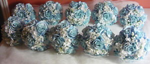 8 Blue & White Bridesmaids Wedding Bouquet Of Flowers Available London Ontario image 2
