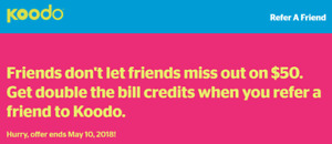 Koodo Bill Credit (Refer a Friend) $50