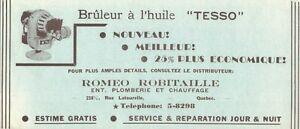 """BUVARD: BRÛLEUR À L'HUILE """"TESSO"""", ROMÉO ROBITAILLE, QUÉBEC"""