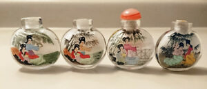 Vintage Chinese Geisha Girl Lady Hand Painted Glass Snuff Bottle