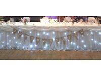 Wedding bunting, lights & pearls