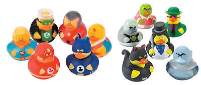 12 RUBBER DUCKS Superhero & Villian Boy's BIRTHDAY Party FAVORS CAKE TOPPERS - Rubber Duck Party Supplies