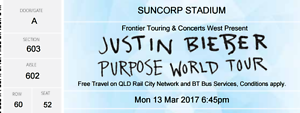2 x Justin Beiber tickets Brisbane 13/3/2016 Bray Park Pine Rivers Area Preview