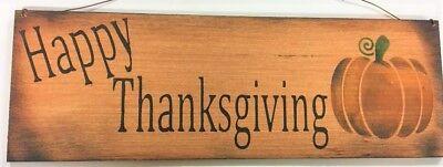 Happy thanksgiving pumpkin fall autumn decor country wooden sign wreath art