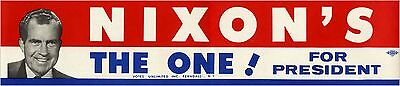 1968 Campaign Richard NIXON'S THE ONE! for President Bumper Sticker (4786)