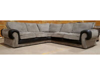 Large Corner Sofa - Grey/Black.
