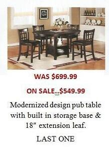 5 PIECE PUB TABLE WITH STORAGE