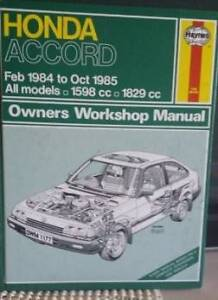 Honda Accord 1984 on Gregory's Workshop Manual Como South Perth Area Preview