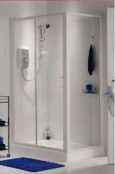 Brand New Shower Enclosure and Cast Stone Tray - BNIB - (1000mm x 760mm) - Homebase Haze