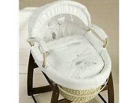 Grey and white Moses basket and stand
