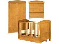 Paloma 3 piece nursery furniture set - Babies R Us - (cotbed, 3 drawer changer, wardrobe, mattress)