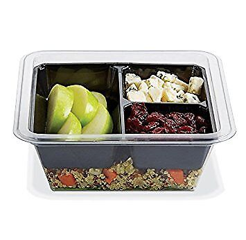 Gocubes 16 Oz Pet Container With 3-comp Black Insert And Clear Lid 50 Sets