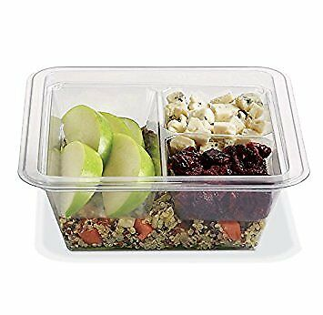 Gocubes 16 Oz Pet Container With 3-comp Clear Insert And Clear Lid 50 Sets