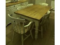 Shabby Chic Solid Pine Dining Table (with Drawer) and 6 Chairs