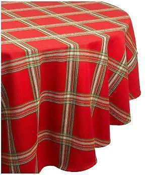 Elegant Round Plaid Tablecloth | EBay
