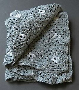 New pewter & platinum 28 x 50-inch hand-crocheted afghan throw