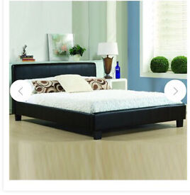**Andrea Italian Leather Faux Double Bed + Mem Matt*