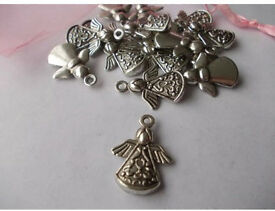 20 x Tibetan Silver Metal Angels With Wings Perfect For Charms Craft Jewellery Making