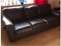 Three Seater Leather Settee