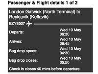 Return flight to Iceland, May 2017.