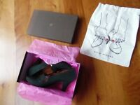 New, in box Chie Mihara rare shoes, dark emerald green, size 7, heel 9 cm