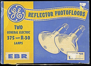 Two GE R-30 Reflector Photofloods 375W Vintage1960s-70s in Box!