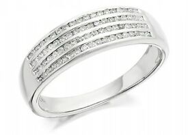 White Gold 35 point diamond ring size R