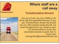 Urgent! Forklift, Lorry, Van, Truck, Bus and car drivers wanted. Excellent rates of pay
