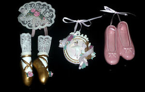 Ballet Figurines:Pink Slippers::Ballerina Plaque::Gold Slippers